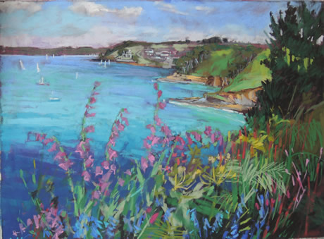Towan Foxgloves looking over to St Mawes - Lynn Golden